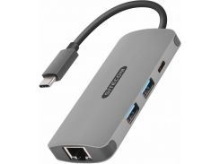 Sitecom Adapter USB-C to RJ45+USB-C+2xUSB3.0 Space Grey (CN-378)