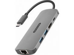 Sitecom Adapter USB-C to RJ45+USB-C+HDMI+2xUSB3.0 Space Grey (CN-379)