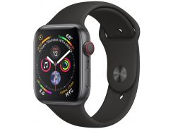 Apple Watch Series 4 44mm GPS+LTE Space Gray Aluminum Case with Black Sport Band (MTUW2, MTVU2)
