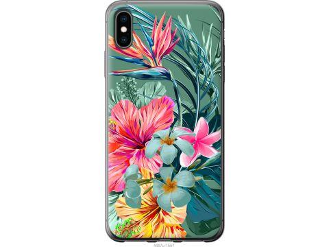 Чехол на iPhone XS Max Тропические цветы v1 (4667u-1557-22700)