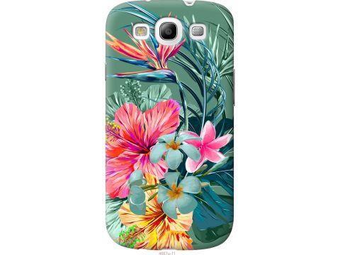 Чехол на Samsung Galaxy S3 Duos I9300i Тропические цветы v1 (4667t-50-22700)