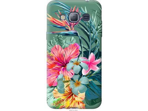 Чехол на Samsung Galaxy J1 (2016) Duos J120H Тропические цветы v1 (4667u-262-22700)