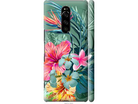 Чехол на Sony Xperia 1 J9110 Тропические цветы v1 (4667m-1760-22700)