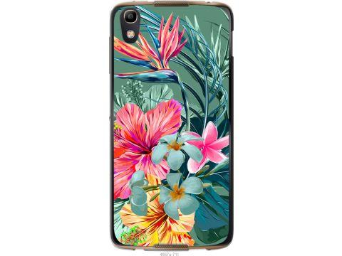 Чехол на Alcatel idol 4 Тропические цветы v1 (4667u-711-22700)