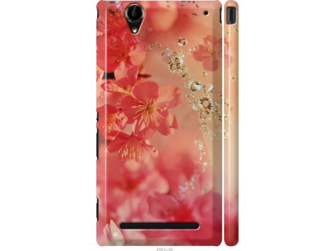 Чехол на Sony Xperia T2 Ultra Dual D5322 Розовые цветы (2461m-92-22700)