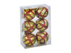 """Ёлочные игрушки """"Шар в полоску"""", d=6,5 см (6 шт), золотисто-красные C30614"""