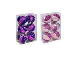 """Ёлочные игрушки """"Шар с узором"""", d=5 см (6 шт), фиолетовые C30616"""