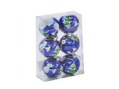 """Ёлочные игрушки """"Шар Зима"""", d=6 см (6 шт), синие C30821"""