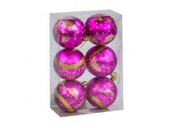 """Ёлочные игрушки """"Шар Рождественская ночь"""", d=8 см (6 шт), розовые C31284"""