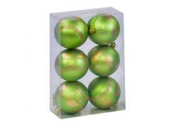 """Ёлочные игрушки """"Шар Рождественская ночь"""", d=8 см (6 шт), салатовые C31284"""