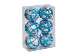 """Ёлочные игрушки """"Шар в полоску"""", d=6,5 см (6 шт), серо-голубые C30614"""