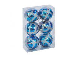 """Ёлочные игрушки """"Шар в полоску"""", d=6,5 см (6 шт), голубо-серые C30614"""