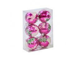 """Ёлочные игрушки """"Шар Зима"""", d=6 см (6 шт), розовые C30821"""