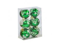 """Ёлочные игрушки """"Шар Зима"""", d=6 см (6 шт), зелёные C30821"""