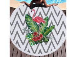 Пляжный коврик. Тропический Фламинго. 150 см.