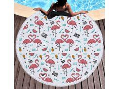 Пляжный коврик. Фламинго Summer. 150 см.