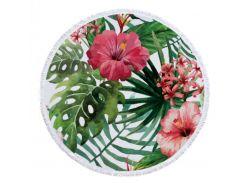 Пляжный коврик Цветы микрофибра 150см