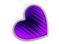 Светильник Бесконечность с USB Сердце (малиновый)
