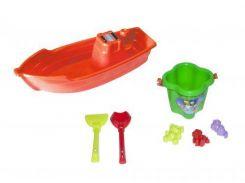 Лодочка с песочным набором (красная) KW-01-116