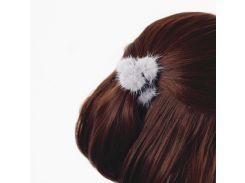 Резинка для волос с натуральным мехом норки. Серый.