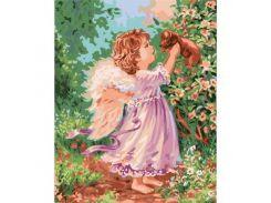 """Картина по номерам """"Ангел с щенком"""" КНО2314"""