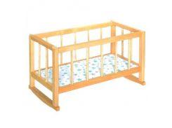 Деревянная кроватка качалка для кукол 7006