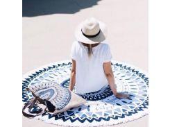 Пляжный коврик Мандала. Сине-черная.