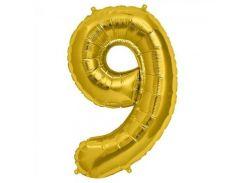 Шарик Цифра (80см) золото 9