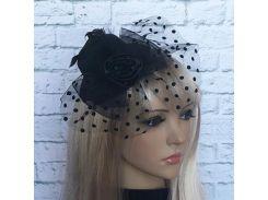Шляпка Гламур маленькая с розой (черная)