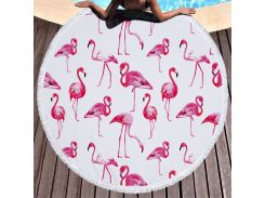 Пляжный коврик. Розовый Фламинго.150 см.