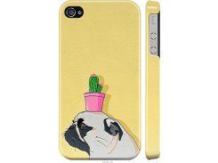 Чехол на iPhone 4 Мопс с кактусом (4516c-15-22700)
