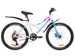 """Подростковый Велосипед 24"""" Discovery FLINT DD 2019 (бело-голубой с розовым)"""