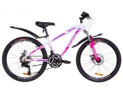 """Подростковый Велосипед 24"""" Discovery FLINT AM DD 2019 (бело-малиновый)"""