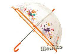 Прозрачный детский зонт Zest. Расцветка Оранжевые коты