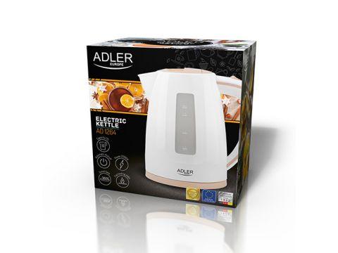 Электрочайник пластиковый Adler AD 1264 1.7 литр Белый/Бежевый (hub_lDbu23295)