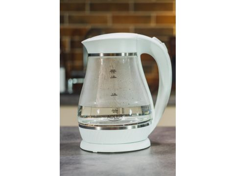 Электрочайник стеклянный Adler AD 1274 1.7 литр Белый (hub_nYLj19974)