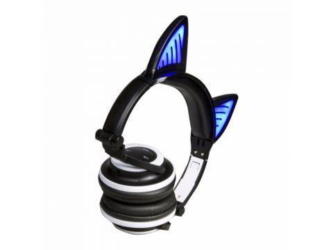 Bluetooth наушники LINX BL108A с кошачьими ушками LED Черные (SUN0479)