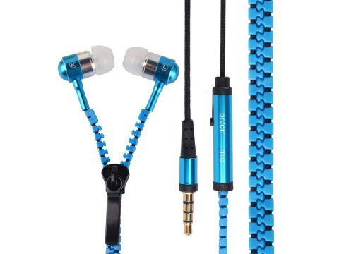 Наушники с микрофоном Lesko ZIP Змейка Blue (1616-5979)