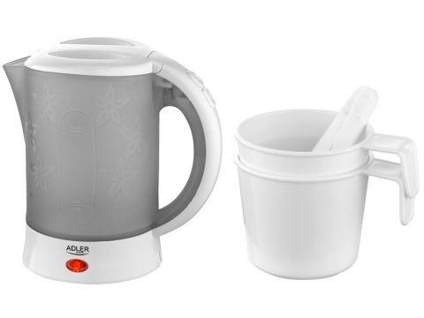 Электрочайник Adler AD 1268 с чашками и ложками Серый с белым (006325)
