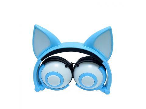 Наушники LINX Bear Ear Headphone с ушками Лисички LED Голубой (SUN2650)