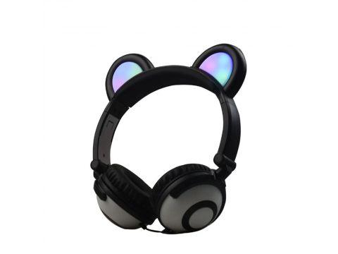 Наушники LINX Bear Ear Headphone с медвежьими ушками LED подсветка 350 mAh Черный (SUN1859)