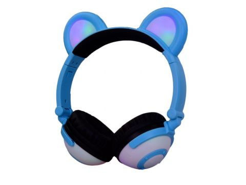 Наушники LINX Bear Ear Headphone с медвежьими ушками LED подсветка 350 mAh Голубой (SUN1861)