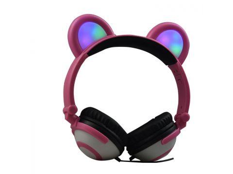 Наушники LINX Bear Ear Headphone с медвежьими ушками LED подсветка 350 mAh Розовый (SUN1862)