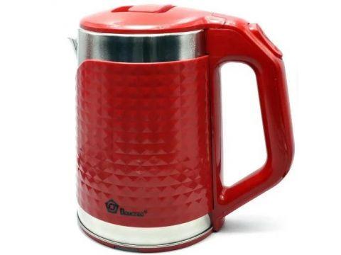 Электрочайник Domotec MS 5027 220V/1500W с металлической колбой, красный