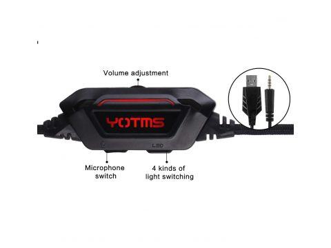 Геймерские наушники Kotion Each Yotms Y1 с объемным звуком 7.1 Черно-красный