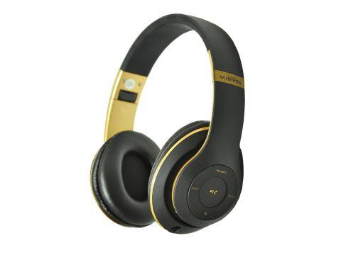 Наушники беспроводные с микрофоном MDR TM 028/056BT с FM-радио Черные с золотым