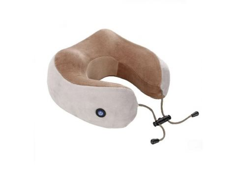 Подушка дорожная для шеи с массажем на аккумуляторе U-Shaped Коричневая