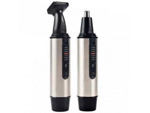 Триммер 2 в 1 Gemei GM-3115 для ушей, носа, бровей и бороды Черный с серебристым