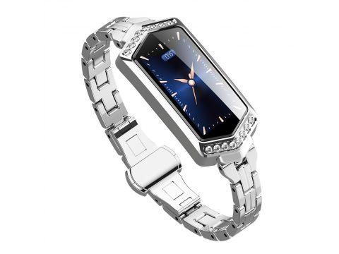 Умные часы фитнес браслет Finow B78 с цветным дисплеем и тонометром Серебристый