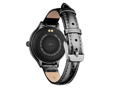 Умный фитнес браслет Lemfo Fashion M9 leather с измерением давления Черный
